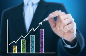 Investimento no setor imobiliário - ilustração de gráfico de crescimento